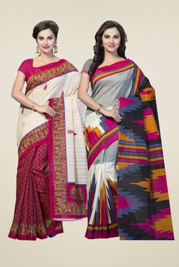 Ishin Grey & Magenta Printed Sarees (Pack Of 2)