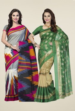 Ishin Grey & Green Printed Sarees (Pack Of 2)