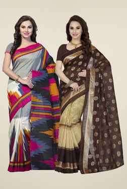 Ishin Grey & Brown Printed Sarees (Pack Of 2)