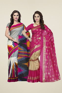 Ishin Grey & Fuchsia Printed Sarees (Pack Of 2)