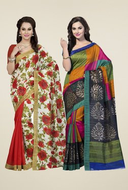Ishin Multicolor Printed Sarees With Blouse (Pack Of 2)