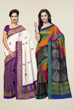 Ishin Multicolor Printed Sarees (Pack Of 2)