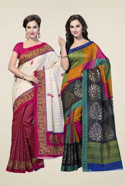 Ishin Multicolor Printed Bhagalpuri Silk Sarees (Pack Of 2)