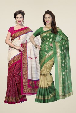 Ishin Magenta & Green Printed Sarees (Pack Of 2)
