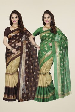 Ishin Green & Brown Printed Sarees (Pack Of 2)