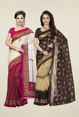Ishin Magenta & Brown Printed Sarees (Pack Of 2)