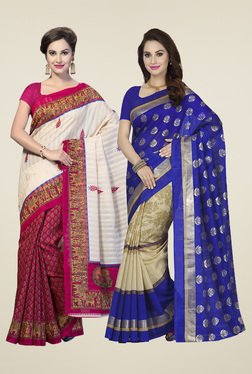 Ishin Royal Blue & Magenta Printed Sarees (Pack Of 2)