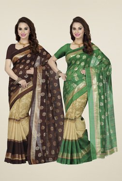 Ishin Brown & Green Printed Sarees (Pack Of 2)