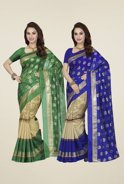 Ishin Green & Blue Printed Sarees (Pack Of 2)