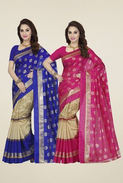 Ishin Blue & Pink Printed Sarees (Pack Of 2)