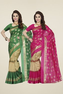 Ishin Pink & Green Printed Sarees (Pack Of 2)