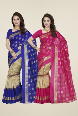 Ishin Pink & Blue Printed Sarees (Pack Of 2)