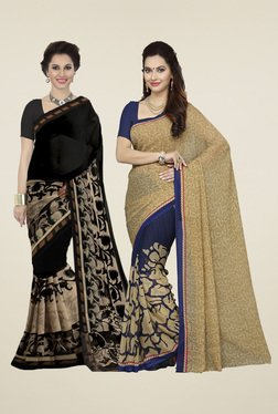 Ishin Black & Blue Printed Sarees With Blouse (Pack Of 2)