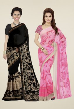 Ishin Black & Rose Printed Sarees (Pack Of 2)
