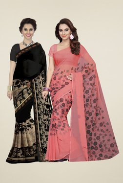 Ishin Black & Peach Printed Sarees (Pack Of 2)