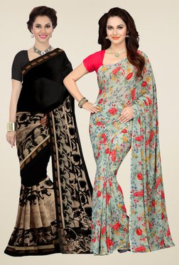 Ishin Black & Pistachio Printed Sarees (Pack Of 2)