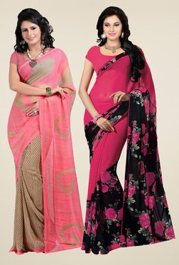 Ishin Peach & Pink Printed Sarees (Pack Of 2)