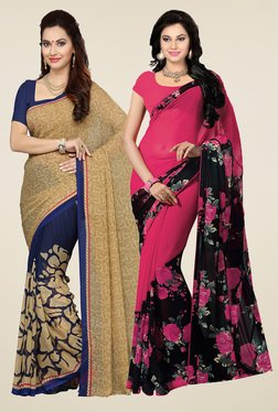 Ishin Dark Pink & Beige Printed Sarees (Pack Of 2)