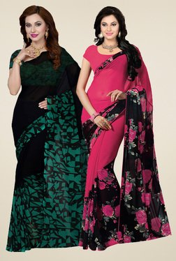 Ishin Black & Pink Printed Sarees (Pack Of 2)