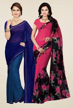 Ishin Navy & Dark Pink Printed Sarees (Pack Of 2)