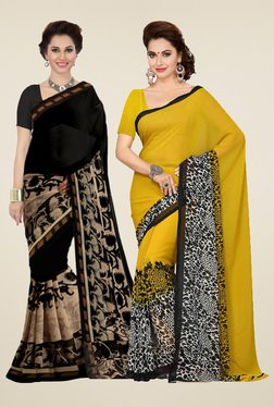 Ishin Yellow & Black Printed Sarees (Pack Of 2)