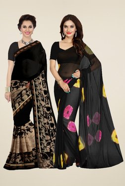 Ishin Black Printed Sarees (Pack Of 2)