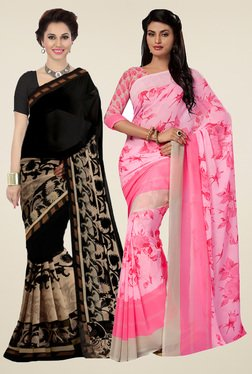 Ishin Black & Rose Printed Sarees With Blouse (Pack Of 2)