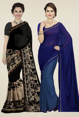Ishin Blue & Black Printed Sarees (Pack Of 2)