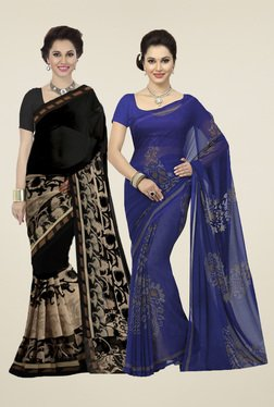 Ishin Black & Blue Printed Sarees (Pack Of 2)