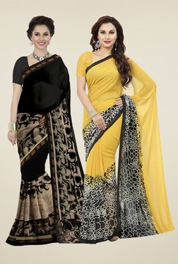 Ishin Yellow&  Black Printed Sarees (Pack Of 2)