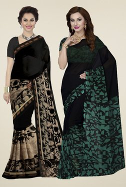 Ishin Black Printed Sarees With Blouse (Pack Of 2)