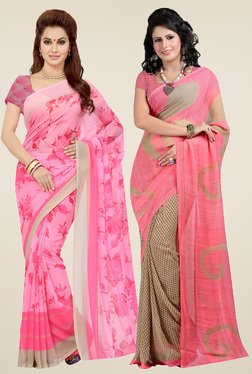 Ishin Pink & Peach Printed Sarees (Pack Of 2)