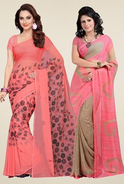 Ishin Peach & Pink Printed Sarees With Blouse (Pack Of 2)