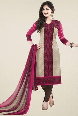 Ishin Pink Printed Unstiched Dress Material