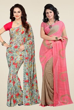 Ishin Pistachio & Peach Printed Sarees (Pack Of 2)