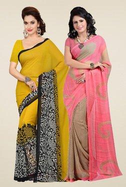 Ishin Mustard & Pink Printed Sarees (Pack Of 2)