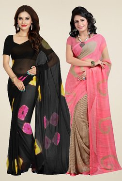 Ishin Black & Pink Printed Sarees With Blouse (Pack Of 2)