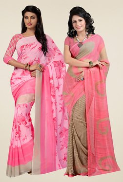 Ishin Pink & Blush Pink Printed Sarees (Pack Of 2)