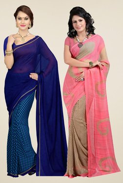 Ishin Royal Blue & Pink Printed Sarees (Pack Of 2)