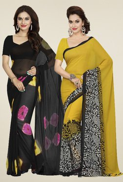 Ishin Black & Mustard Printed Sarees (Pack Of 2)