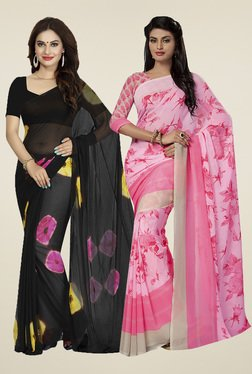 Ishin Black & Light Pink Printed Sarees (Pack Of 2)