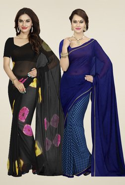 Ishin Black & Royal Blue Printed Sarees (Pack Of 2)