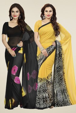 Ishin Black & Yellow Printed Sarees (Pack Of 2)