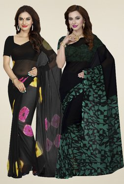 Ishin Black & Teal Printed Sarees (Pack Of 2)