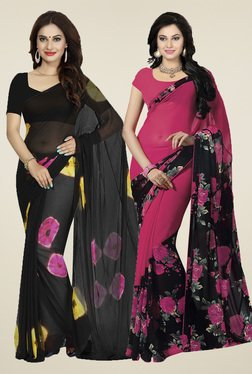 Ishin Black & Fuchsia Printed Sarees (Pack Of 2)