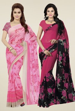Ishin Light Pink & Fuchsia Printed Sarees (Pack Of 2)