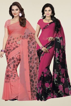 Ishin Coral Pink & Fuchsia Printed Sarees (Pack Of 2)