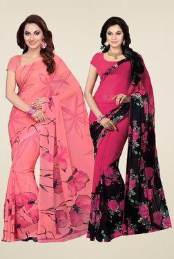 Ishin Rose & Fuchsia Printed Sarees (Pack Of 2)