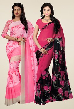 Ishin Blush Pink & Fuchsia Printed Sarees (Pack Of 2)