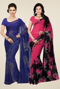 Ishin Blue & Pink Printed Sarees With Blouse (Pack Of 2)